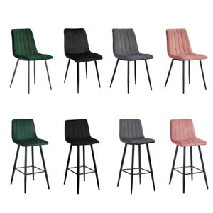 2/4/6 Dining Chairs Set Barstools Velvet Padded Seat Metal Legs Kitchen Chair