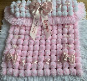 Personalised Baby Pom Pom Pram Blanket In Pink & White