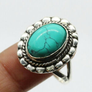 Turquoise 925 Silver Plated Handmade Gemstone Ring of US Size 7.5 Ethnic Gift