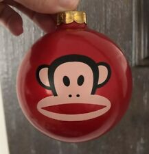 "Vintage Paul Frank Julius the Monkey Christmas Tree Ornament Ball Red 4"" RARE!"
