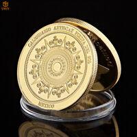 Mexican Mayan Prophecy Calendar Antique Gold Plated Souvenir Coin Collection