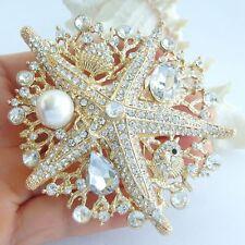 "Pendant Rhinestone Crystal Bp06412 Charming 3.15"" Starfish Brooch Pin"