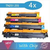 4 x Toners TN251 TN255 for Brother HL3150CDN/3170CDW MFC9140/9330/9335/9340CDW