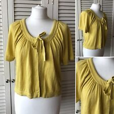 Boden Yellow On Trend Silk & Linen Crop Cardigan Scoop Neck Tie Size 14 Cover Up