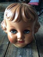 Vintage Doll Head Only Wood Neck Base Molded Hair Sleepy Eyes Girl