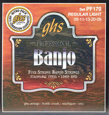 GHS PF170 Light 5 String Banjo Strings Stainless Steel Loop End
