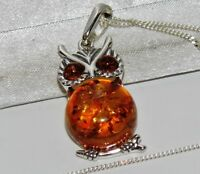 Baltic Amber (925) Sterling Silver OWL Pendant / Necklace - NEW