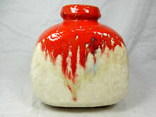 70´s design Ruscha pottery Keramik vase in a red & white glaze variation  814