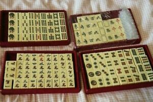 Antique Mahjong Set - hand-carved tiles made of one material without backing