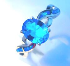 **NEW**STUNNING BLUE FIRE OPAL/TOPAZ TWIST RING  UK SIZE  Q   /   US SIZE  8.5