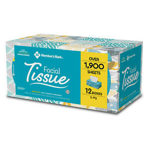 Member's Mark Soft & Strong Facial Tissues, 12 Flat Boxes, 160 2-Ply Tissues per