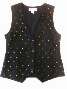 Ladies waistcoat Top Effect M Size 12? Black embr & beaded Good con ChristmasFV1