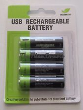 4 AA FAST RECHARGEABLE 1.5v Batteries. Charge from phone or USB lead.