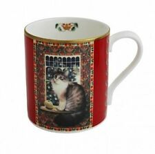 Halcyon Days, 'Agneatha The Cat At Christmas' Fine Bone China Mug, New In Box