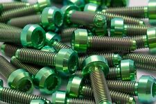 10x Titanium Green Bolts for BBS Split Rim Wheels, M7 x 24mm for RX2, RS2...