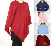 Cashmere Cape Poncho Sweater Wrap V-Neck Cardigan Autumn Winter Spring One Size