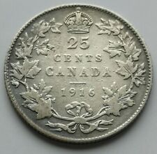 *** CANADA  KING  GEORGES V  25 CENTS  1916  #1 *** BETTER  DATE  ***