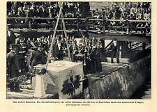 1903 Kolonie Kiautschau * Grundsteinlegung Kaimaurer d.Hafens durch Gov.Truppel