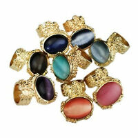Vintage Art Deco style gold tone oval stone ring multiple colours