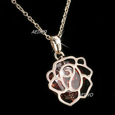 18K GOLD FILLED MADE WITH SWAROVSKI CRYSTAL ROSE PENDANT RUBY RED NECKLACE