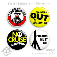 "CND No Cruise POLARIS POLITICAL Thatcher Protest SET - 1"" Badge x4 Badges NEW"