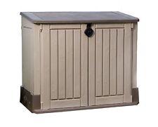 Keter Woodland PLASTIC SHED, Storage Sturdy Floor STORAGE SHED, Beige Brown