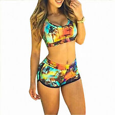 Womens High Waist Bikini Set Crop Top Shorts Floral Beach Bathing Suit Swimsuit