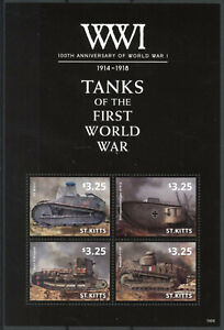 St Kitts Military Stamps 2014 MNH WWI WW1 100th First World War I Tanks 4v M/S