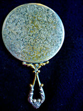 Antique Dainty Small Hand Held Mirror, 1930S Sweet Repousse Design,Mirror Clear