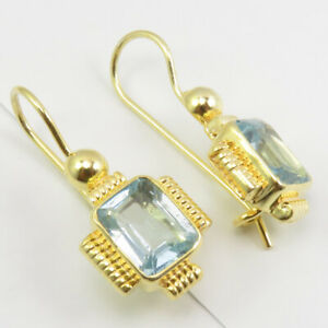 Yellow Gold Plated Real BLUE TOPAZ Earrings 5.0 Grams Solid Sterling Silver