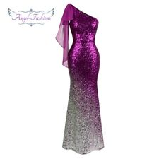 Angel-fashions Women's Asymmetric Ribbon Gradual Sequin Mermaid Long Dress 286