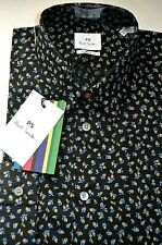 """Paul Smith Tailored Fit Black Floral Patterned Men's Shirt Sizes: 15"""" To 17.5"""""""