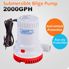 12V 2000GPH Submersible Bilge Water Pump Fishing Camping Caravan Marine Boat