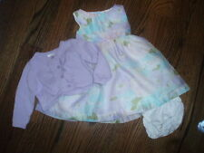 EUC~Gymboree Baby Girls Lawn Party Pastel 2 PC Floral Dress with Sweater ~ 6/12M