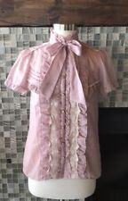 *US SELLER* Axes Femme frill pink bow lace shirt top Victorian Lolita Small