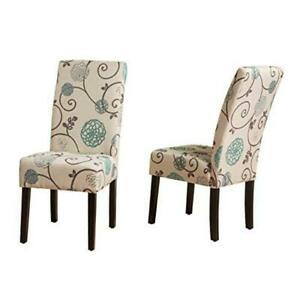 Pertica Fabric Dining Chairs, 2-Pcs Set, White And Blue Floral