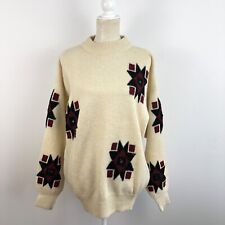 French Connection Vintage Oversize Navajo Wool Mock Neck Pullover Sweater S