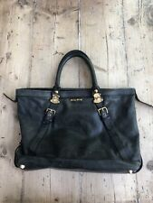 Dark Grey Miu Miu Large Leather Bag With Gold Clasps