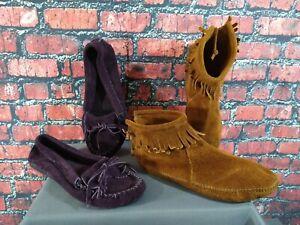 Lot of 2 women's MINNETONKA purple suede moccasins/moc fringe booties - SZ 6 1/2