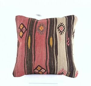 Turkish Kilim Pillow Cover 16x16 Home Decorative Wool Handmade Rug Cushion A509