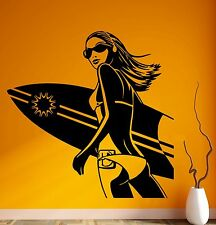 Wall Stickers Vinyl Decal Sexy Girl Surf Board Extreme Sports beach Relax ig1464