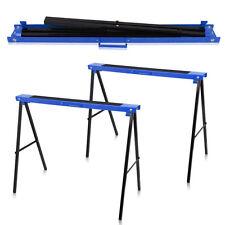 Pair 780mm 125KG Trestle Saw Horse Stands Non Slip Fold Carpenter Builder Blue