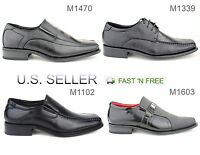 Men's Dress Shoes Formal Casual Slip-on Oxford Solid Lace Up Square Toe Classic