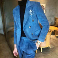Men's Royal Blue Corduroy Suits Two Double-Breasted Pant Formal Tuxedos Business