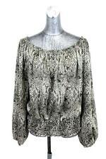 womens snakeskin print MICHAEL KORS ruffle blouse shirt top casual designer XL