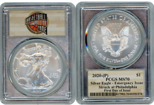 2020 P SILVER AMERICAN EAGLE $1 EMERGENCY PCGS MS70 FIRST DAY OF ISSUE SILVER H2