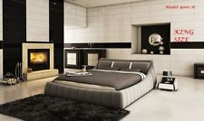 ITALIAN DESIGN king SIZE GREY PU LEATHER BED FRAME
