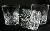 3 stunning vintage lead crystal whisky spirit rum tumblers glasses clear base