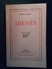 § HENRI BOSCO, IRÉNÉE (1928), ÉDITION ORIGINALE NUMÉROTÉE SUR VÉLIN §