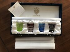 Spectacular Faberge Colorful Crystal Shot Glasses Art Glass with Original Box